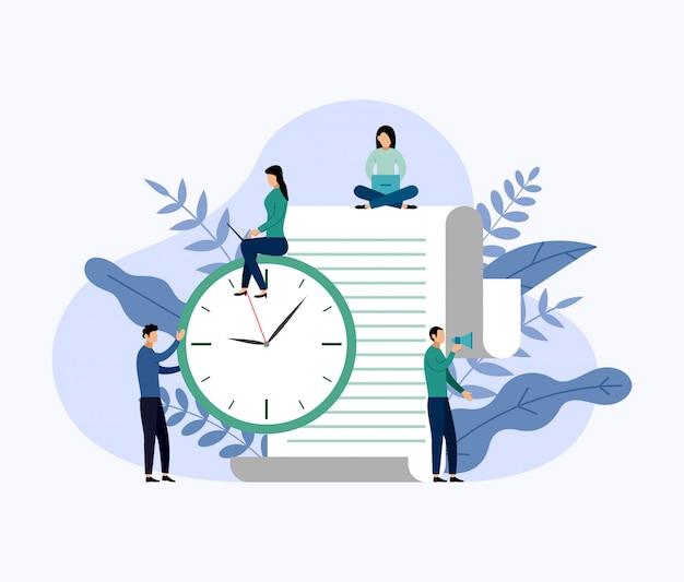 Gestione del tempo, concetto di pianificazione Vettore Premium