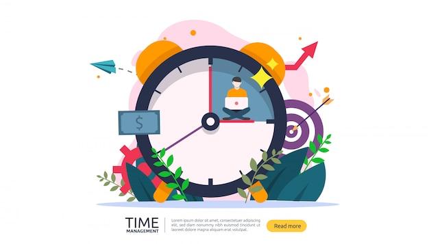 Gestione del tempo e concetto di procrastinazione. pianificazione e strategia per banner aziendali Vettore Premium