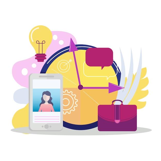 Gestione del tempo e concetto di produttività Vettore Premium