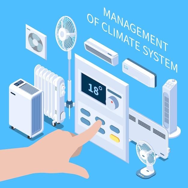 Gestione della composizione isometrica del sistema climatico con impostazione della temperatura della mano umana sul pannello di controllo per il condizionatore d'aria Vettore gratuito