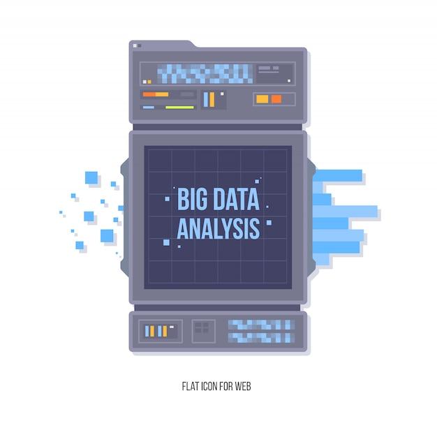 Gestione della rete di dati. visualizzazione di algoritm per l'apprendimento automatico di grandi dati. concetto di sicurezza concetto di sicurezza e di analisi. stile illustrazione piatta. Vettore Premium