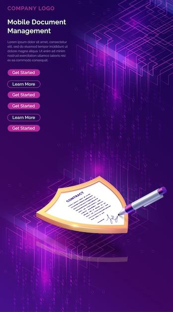 Gestione documenti mobile o firma elettronica Vettore gratuito