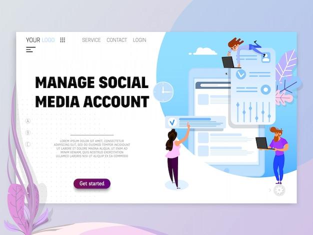 Gestisci account di social media Vettore Premium