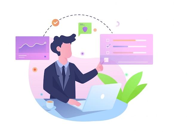 Gestisci l'illustrazione casuale dell'ufficiale di analisi Vettore Premium