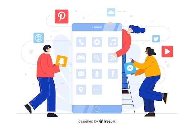 Gestisci la pagina di destinazione delle app delle cartelle del telefono Vettore gratuito