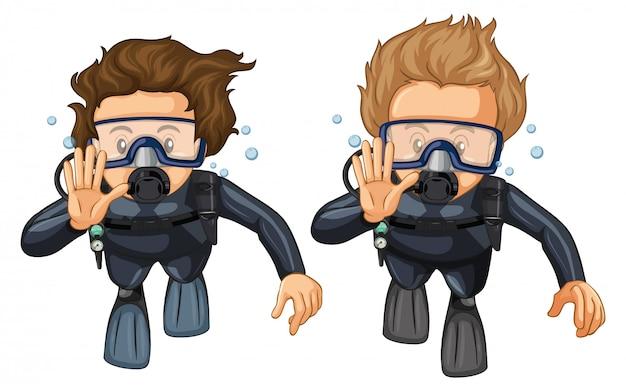 Gesto della mano per le immersioni subacquee Vettore gratuito