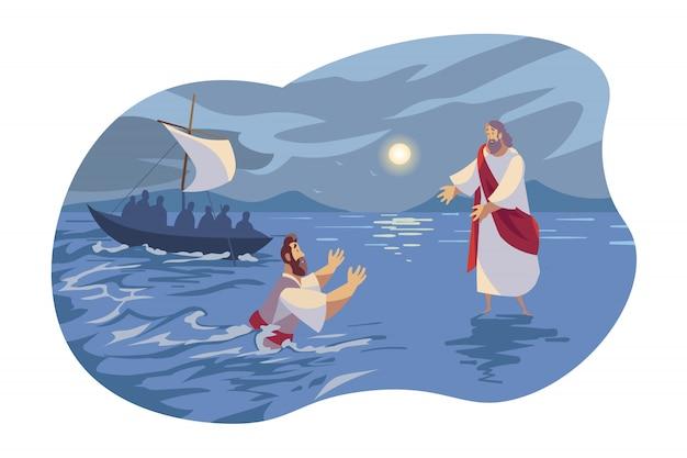 Gesù cammina sull'acqua, concetto biblico Vettore Premium