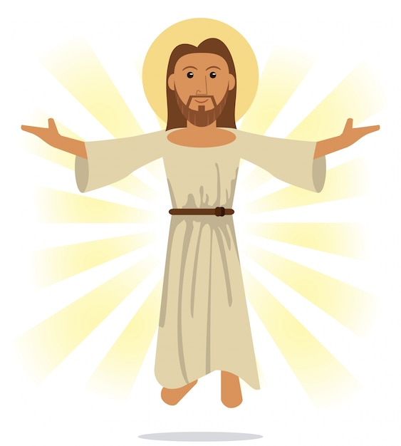Gesù cristo simbolo religioso Vettore Premium