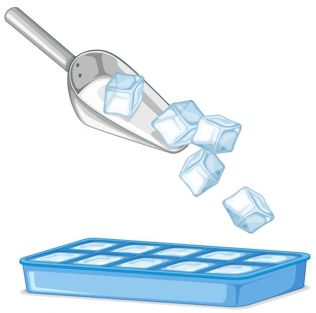 Ghiacci in cucchiaio e vassoio del metallo su bianco Vettore gratuito