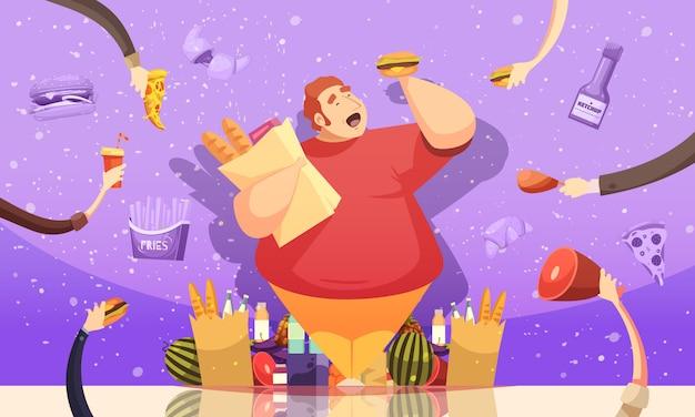 Ghiottoneria che conduce all'illustrazione di obesità Vettore gratuito