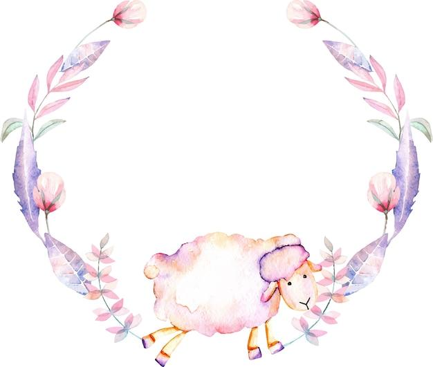 Ghirlanda con pecore acquerello e fiori rosa Vettore Premium