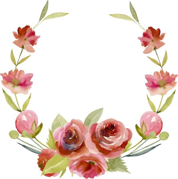 Ghirlanda con rose bordeaux acquerello Vettore Premium