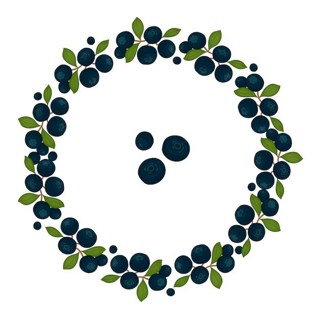 Ghirlanda di cornice di mirtilli con foglie verdi. illustrazione disegnata a mano di stile del fumetto. Vettore Premium