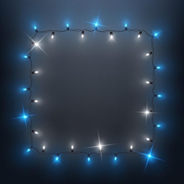 Ghirlanda di luci a led lucenti ghirlanda, disegno di sfondo, natale, capodanno Vettore Premium