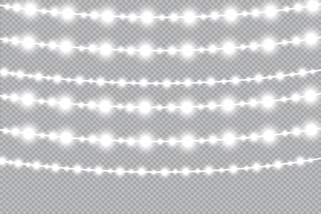 Ghirlanda di natale incandescente con luci. lampada al neon a led. Vettore Premium