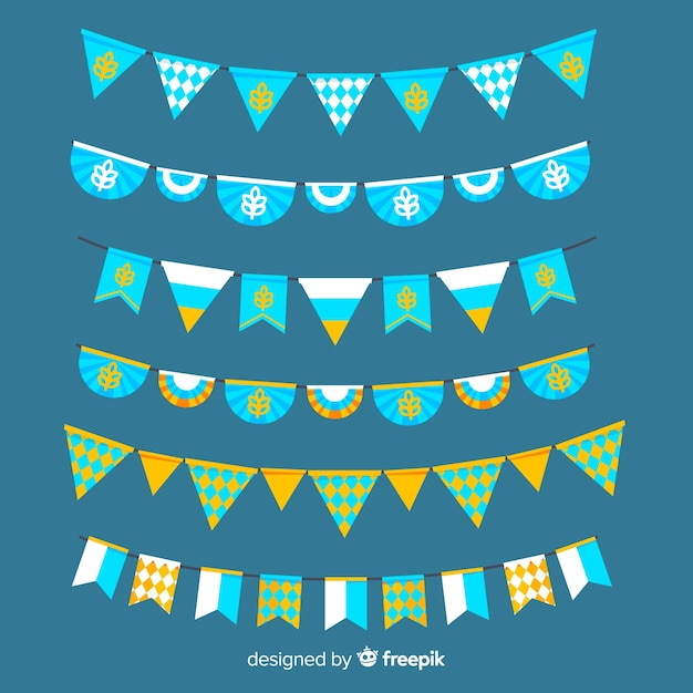 Ghirlanda di oktoberfest piatta collezione su tonalità blu Vettore gratuito