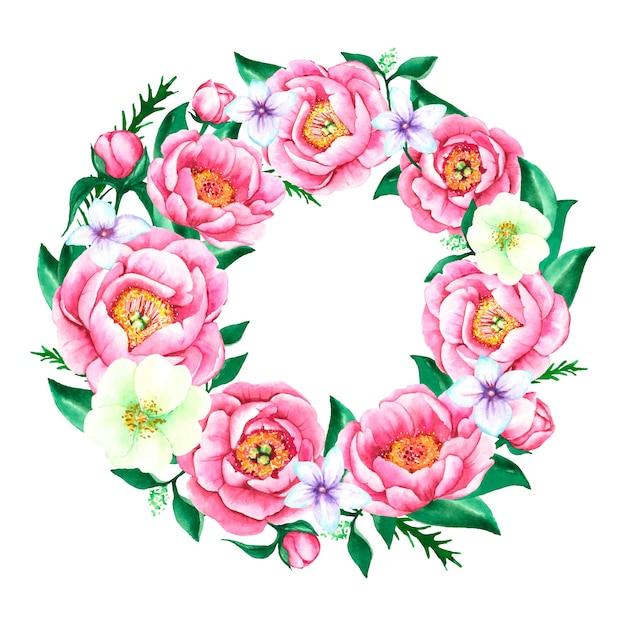 Ghirlanda floreale lussureggiante nel disegno ad acquerello Vettore gratuito
