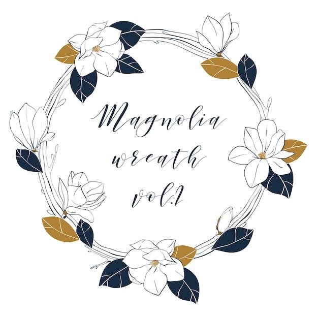 Ghirlanda grafica in magnolia nei colori blu intenso e bronzo. Vettore Premium