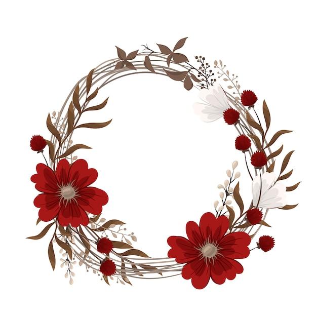 Ghirlande di fiori che disegnano - fiori rossi Vettore gratuito