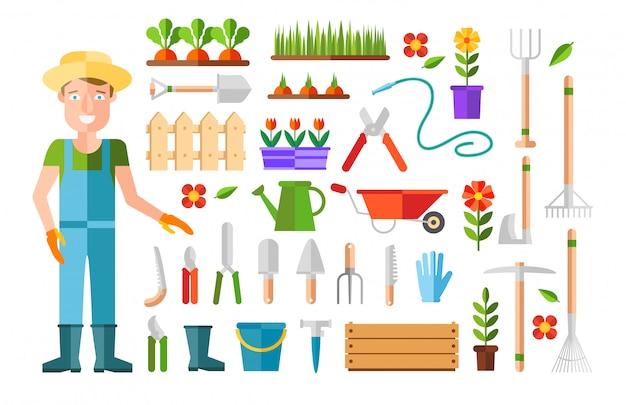 Giardinaggio e orticoltura, attrezzi per hobby, cassette di verdure e piante. Vettore gratuito