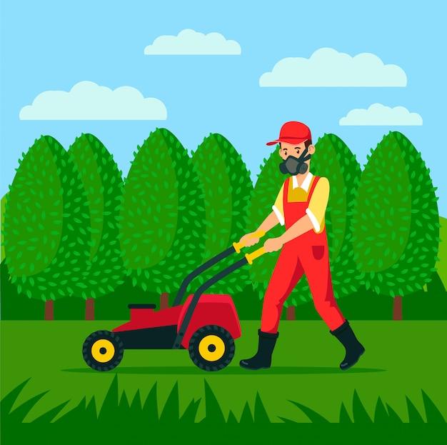 Giardiniere con grass cutter cartoon illustration Vettore Premium