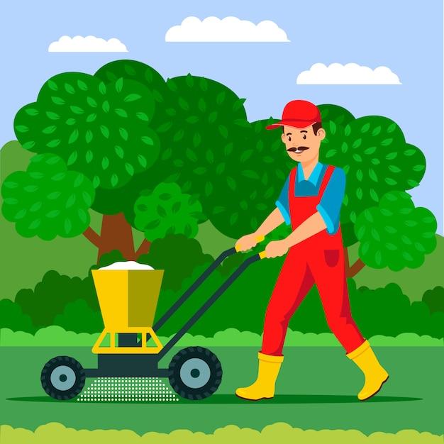 Giardiniere con illustrazione di spandiconcime Vettore Premium