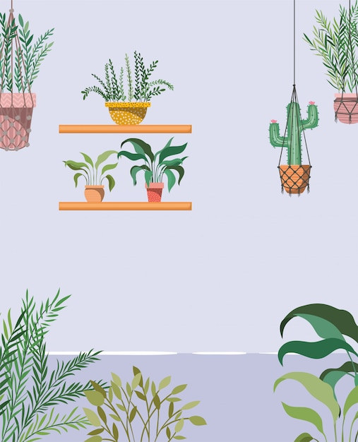Giardino della casa con piante che appendono scena Vettore Premium