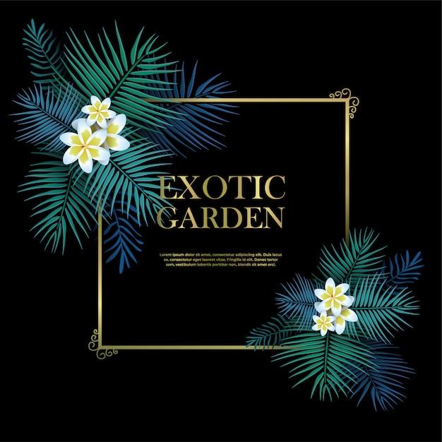 Giardino esotico con cornice dorata con modello di testo Vettore Premium