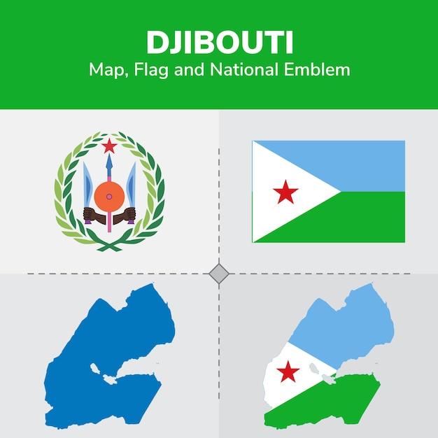 Gibuti mappa, bandiera e emblema nazionale Vettore Premium