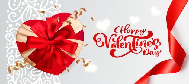 Giftbox 3d con la bandiera di san valentino dell'arco Vettore Premium