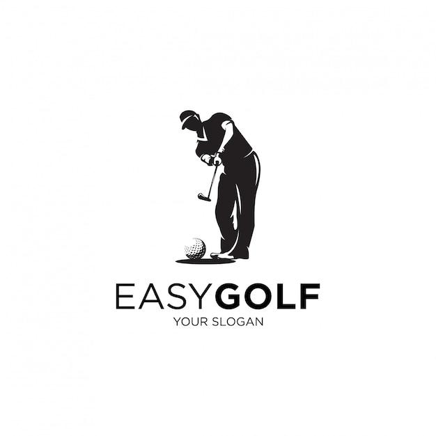 Giocare a golf silhouette logo illustrazioni Vettore Premium