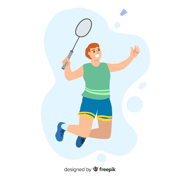 Giocatore di badminton con racchetta e piuma Vettore gratuito