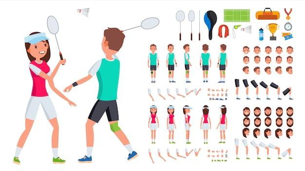Giocatore di badminton maschio, femmina vettoriale. set di creazione di personaggi animati. uomo, donna integrale, frontale, laterale, vista posteriore. accessori da badminton. pose, emozioni, gesti Vettore Premium