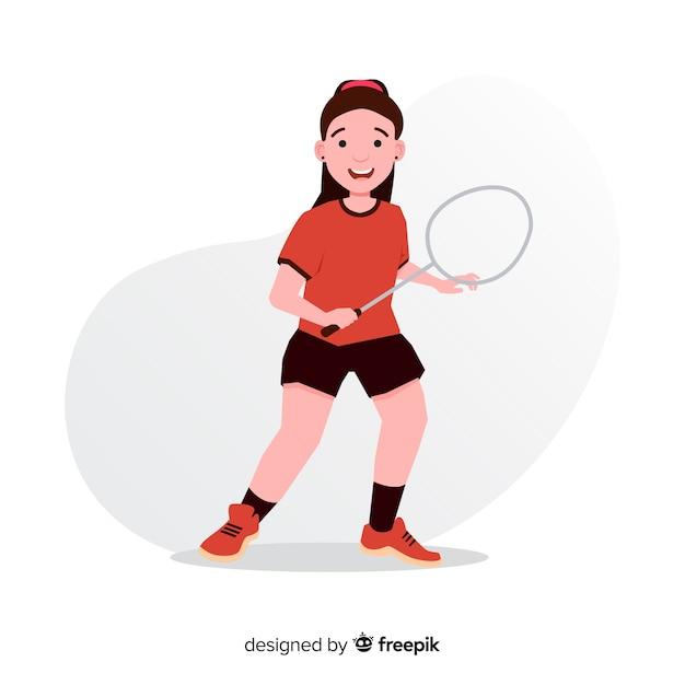 Giocatore di badminton piatto con una racchetta Vettore gratuito