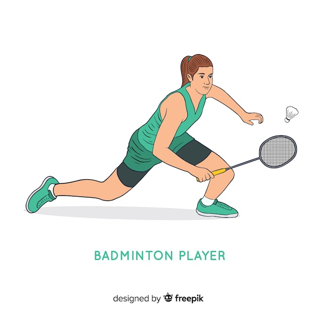 Giocatore di badminton Vettore gratuito