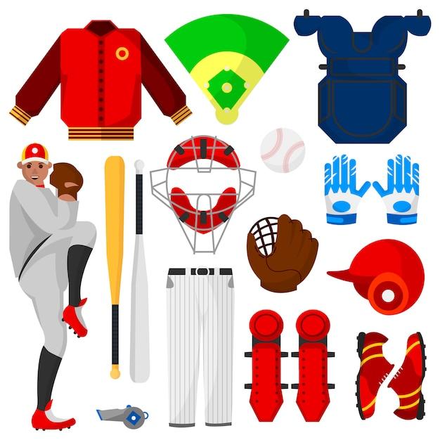 Giocatore di baseball e attrezzature sportive Vettore Premium