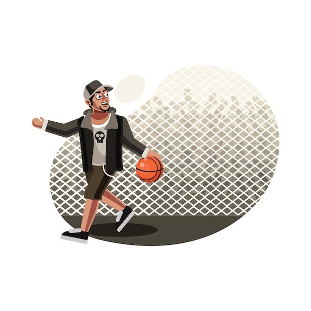 Giocatore di basket di strada Vettore Premium