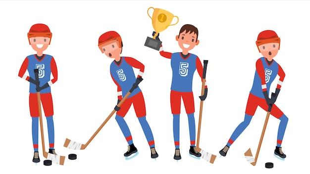 Giocatore di hockey su ghiaccio Vettore Premium