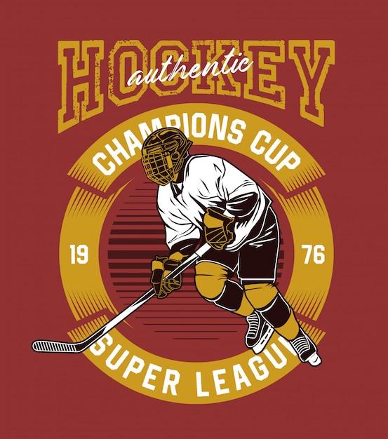 Giocatore di hockey Vettore Premium