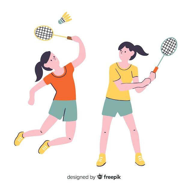 Giocatori di badminton Vettore gratuito