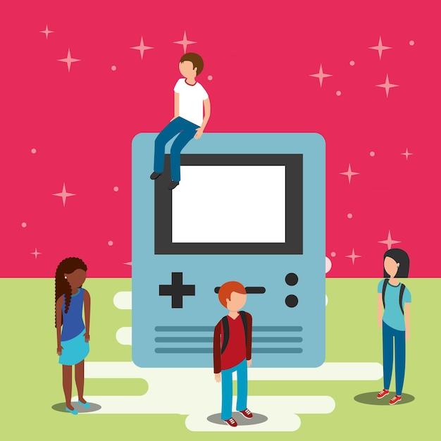 Giocatori e videogiochi di grande console Vettore Premium