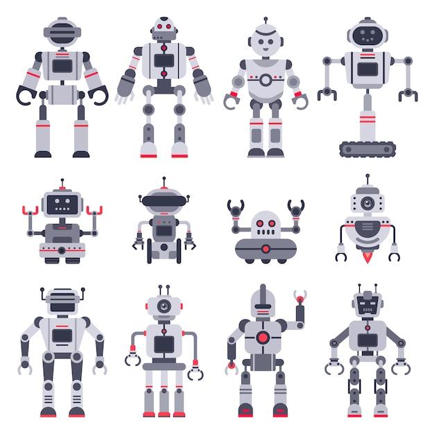 Giocattoli elettronici robot, simpatici personaggi mascotte di chatbot e robot giocattolo Vettore Premium