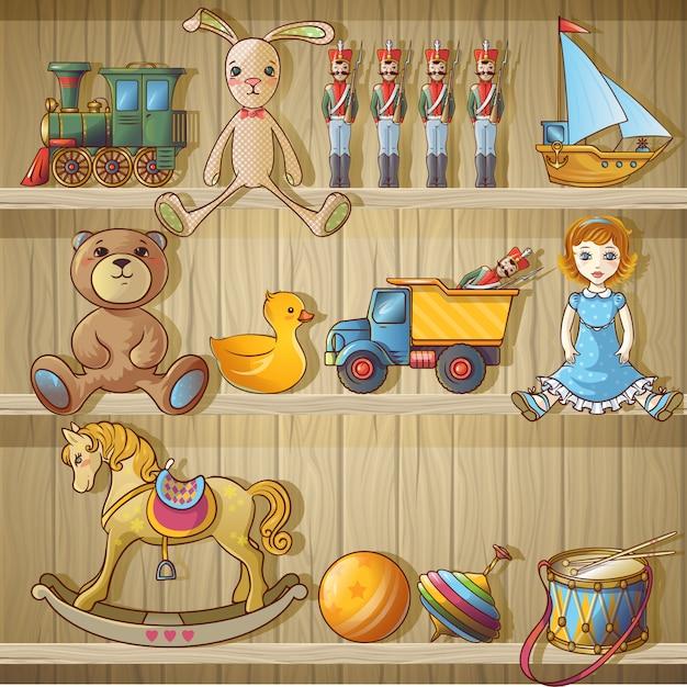 Giocattoli per bambini su scaffali composizione Vettore gratuito