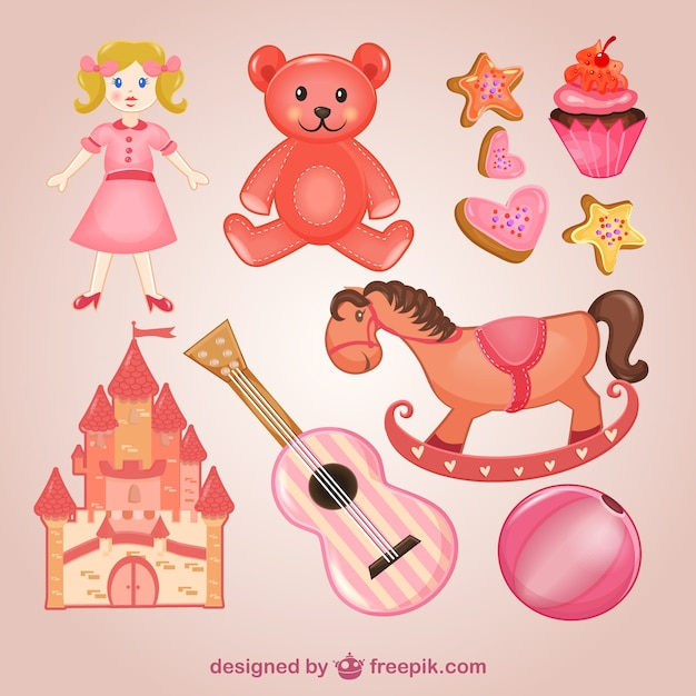 Giocattoli rosa confezione Vettore gratuito