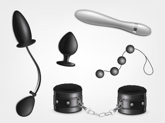 Giocattolo del sesso per il piacere della donna, giochi di ruolo erotici per adulti, giochi sessuali bdsm Vettore gratuito