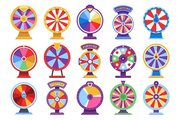Giochi di soldi piani del casinò delle icone delle ruote di filatura di fortuna delle roulette - elementi in fallimento o fortunati di vettore Vettore Premium