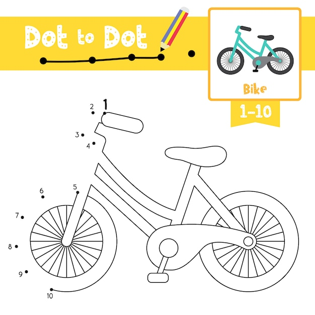 Gioco bike dot to dot e libro da colorare Vettore Premium