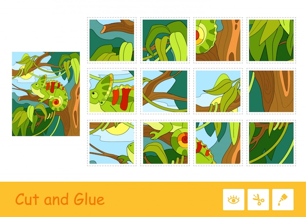 Gioco colorato per bambini con l'immagine del camaleonte carino seduto su un albero in una foresta pluviale. animali selvaggi. taglia e incolla il gioco dei bambini e un'altra attività di sviluppo. Vettore Premium