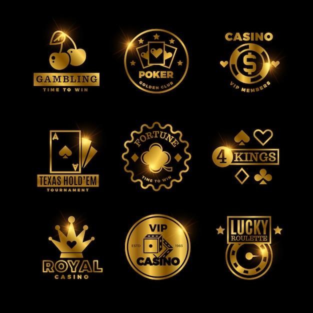 Gioco d'azzardo dorato, casinò, torneo reale di poker, etichette per roulette, emblemi, loghi e stemmi Vettore Premium