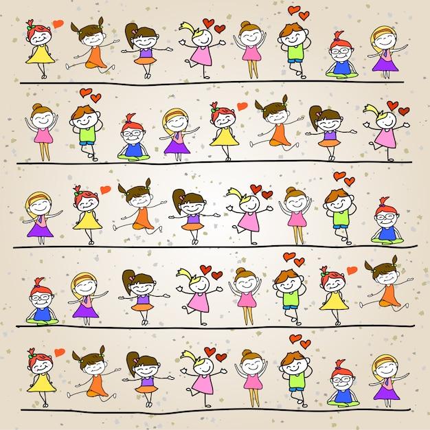 Gioco dei bambini del fumetto dell'illustrazione della mano Vettore Premium